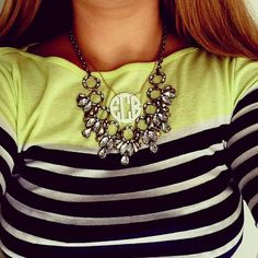 There is no such thing as too many monograms or statement necklaces
