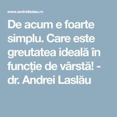 De acum e foarte simplu. Care este greutatea ideală în funcție de vârstă! - dr. Andrei Laslău