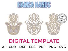 HAMSA HANDS for LASERCUT cut files clipart Silhouette Dxf Eps | Etsy Laser Cut Files, Hamsa Hand, Craft Items, Handmade Crafts, Laser Cutting, Cutting Files, Surface, Clip Art, Hands
