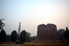 Qutub Minar on the left and unfinished Alai Minar on the right... #QutubMinar #TouringTravellers