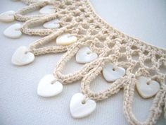 Hand Crochet Natural Linen Necklace Hearts by CraftsbySigita Love Crochet, Hand Crochet, Crochet Lace, Crochet Crafts, Yarn Crafts, Crochet Projects, Crochet Designs, Crochet Patterns, Crochet Buttons