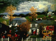 "'' Halloween '' by Anna Mary Robertson (""Grandma"") Moses (1860-1961)."