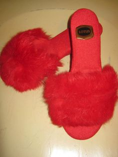 VINTAGE 70s LADIES FLUFFY RED MULES SLIPPERS size 5 LOTUS £67.02 Pump Shoes, Pumps, Red Mules, Old Antiques, Fur Slides, Vintage 70s, Nightwear, Old School, Lotus