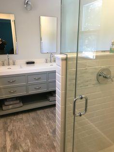 Finished master bathroom - grey wood tile, beveled subway tiles, sunken medicine cabinet mirrors