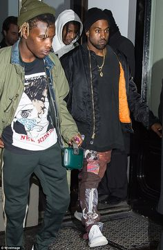 Phew: Kanye looked understandably relieved when he finally managed to escape