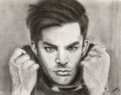 Adam Lambert graphite and black pencil by T Saldaña