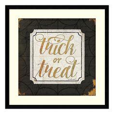 "Halloween ""Trick or Treat"" Framed Wall Art, Black"