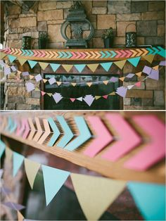 "Southwestern DIY wedding decor - Especially the chevron/arrowhead garland! So cute mixed with ""plus"" sign garland and mini triangles Diy Wedding Decorations, Paper Decorations, Birthday Decorations, Garland Wedding, Party Garland, Decoration Party, Diy And Crafts, Paper Crafts, Diy Paper"