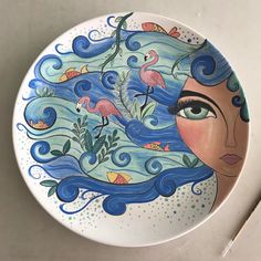 Just for the art of it Pottery Painting Designs, Rock Painting Designs, Pottery Designs, Wall Art Designs, Clay Plates, Ceramic Plates, Ceramic Pottery, Pottery Art, China Painting