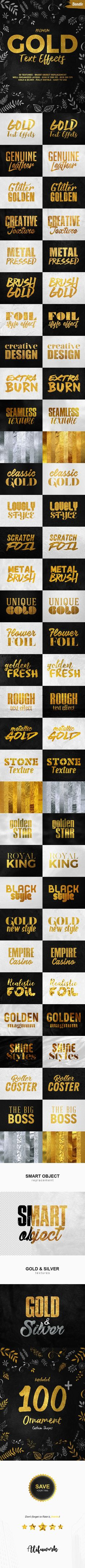 #Gold #Text Effects Bundle - Text Effects #Styles