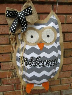 Owl Burlap Door Hanger Chevron Pattern Welcome by nursejeanneg