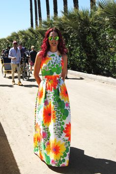 This #dress is so cool. Very #vintage looking, and had such bright colors. Coachella Weekend 1, 2016 #Coachellafashion #coachella #festivalfashion