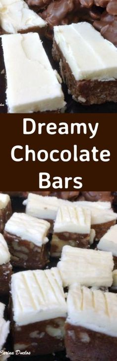 Dreamy Chocolate Bars. These are a lovely No Bake sweet treat and so popular! Easy to make, and perfect for snacks, parties and the holidays! | Lovefoodies.com by jean