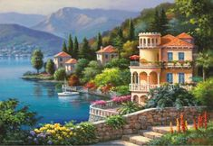 If you are a landscape and natural painting lover then this is the best combination for you. Grab this amazing painting Lakeside Town Beautiful Landscape DIY Paint By Number and take your home decor to the next level Oil Painting On Canvas, Diy Painting, House Painting, Canvas Art, Diy Canvas, Wall Canvas, Canvas Frame, Belle Image Nature, Images D'art