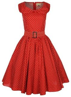 Amazon.com: Lindy Bop 'Hetty' Red Polka Dot Bow Shawl Collar Vintage 1950'S Rockabilly Swing Party Dress: Clothing