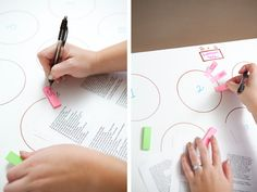 wedding seating chart using Post-it notes
