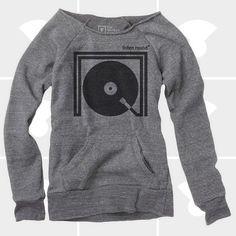 Listen Round Women Off Shoulder Sweatshirt - DJ Music Turntable