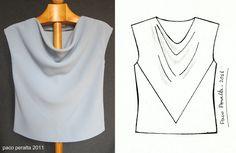 BCN - UNIQUE designer patterns: BLUSA (Draped Top).-