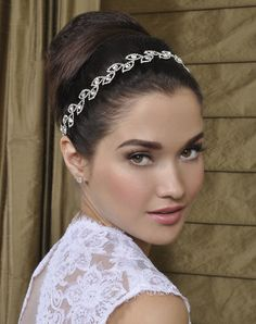 Bridal headband or halo with large and pave crystal leaves handsewn to choice of ribbon. White, Silk White, Ivory, Champagne. Handmade with love in the USA