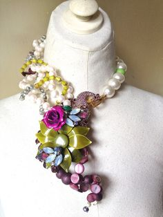 Wedding Flower Rhinestone Peacock Necklace with by ZiLLAsQuEeN, $328.00