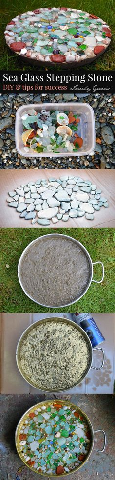 Sea Glass Stepping Stones for the garden. Preserve the memory of a beach visit and the wet look of sea glass in this diy project for garden stepping stones. You can also use marbles for a similar effect Sea Glass Crafts, Sea Glass Art, Garden Crafts, Garden Projects, Mosaic Art, Mosaic Glass, Garden Stepping Stones, Wie Macht Man, Ideias Diy