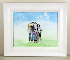 This whimsical custom cartoon family watercolor portrait is a wonderful piece of art that you can proudly display at your home of the ones you