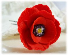 Poppy Hair Pin  Red. White Yellow Orange by strandedtreasures, $11.00