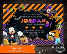 Items similar to Mickey Mouse Halloween Birthday Invitation, Mickey Halloween Invitation on Etsy Halloween First Birthday, Mickey Halloween Party, Halloween Birthday Invitations, Minnie Mouse Halloween, Free Printable Birthday Invitations, Elmo Party, Elmo Birthday, Mickey Party, Disney Birthday