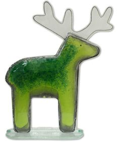 Fused Glass - Reindeer Green - Large by Nobile Glassware. Available from Artworx Gallery. www.artworx.co.uk