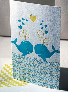 This would be a nice engagement card. - Love Whales letterpress card | Smock | eco-friendly letterpress printing