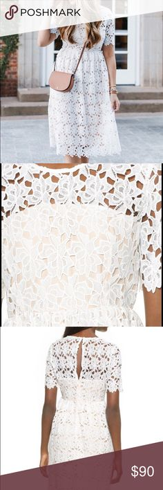 Lace midi dress Gently worn in excellent condition. White lace fully lined midi dress. See photo for full description. No trades/no PP. Little White Lies-Shopbop Dresses Midi