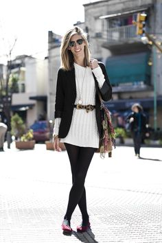 white sweater dress with black tights, a black blazer and cute accessories