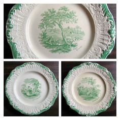 Old green toile plates with scrolls and feathering.