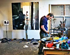 i love photos of artists in their studios. here's lars elling from his website.