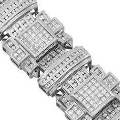 14K White Gold Mens Diamond Bracelet 16.20 Ctw - http://www.wonderfulworldofjewelry.com/jewelry/mens-jewelry/mens-bracelets/14k-white-gold-mens-diamond-bracelet-1620-ctw-com/ - Your First Choice for Jewelry and Jewellery Accessories
