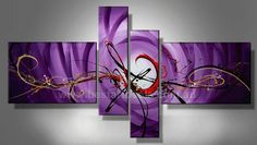 Hand Painted Artwork Colorful Lines Purple Abstract Art 4 Piece Wall Art Oil Painting Modern Art Canvas Art Gallery Wrapped Stretched and Ready to Hang Large Painting, Hand Painting Art, Painting Abstract, Painting Canvas, Acrylic Artwork, Panel Wall Art, Canvas Wall Art, Canvas Prints, Home Design