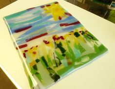 Spring Day at the Park  Fused Glass Art Plate by ArtBoxDesign, $49.00
