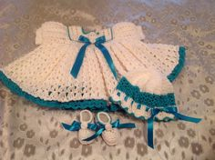 Turquoise and White Dress Hat & Shoes by LittleKiddiesCrochet, $55.00
