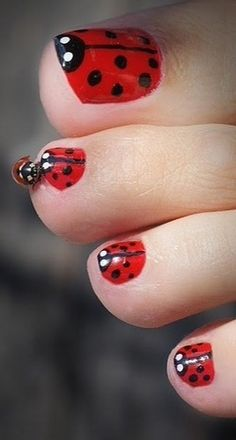 I think this would be so cute with sandals. To get this look use AVON Nailwear Pro+ Nail Enamel in real red, 2 coats. Next use licorice for the black and French tip white for the eyes. AVON has a dual-ended nail brush and dotting tool that is perfect for getting the job done.