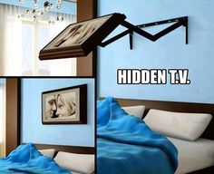 Funny pictures about Hidden TV. Oh, and cool pics about Hidden TV. Also, Hidden TV. Hidden Tv, Diy Casa, Ideas Hogar, Ideas Geniales, Wall Mounted Tv, Mounting Tv On Wall, Home And Deco, My New Room, Home Bedroom