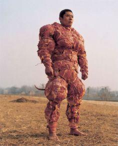 MeatMan..reminds me of David Byrnes meat suit - Stop Making Sense