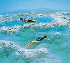 Dead Sea, Jordan. Known for health benefits due to the high amounts of salt. Used in cosmetics especially the sea's mud. It is so salty that no organisms inhibit it and swimmers float on the surface