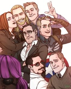 """At first I thought, """"Aww, another Avengers selfies! How cute!"""" BUT THEN I SAW NICK FURY'S PINK WIG AND I CAN'T STOP LAUGHING BAHAHAHAHAHA"""