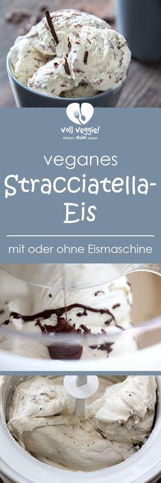 Stracciatella-Eis geht immer und ist neben Vanille-, Erdbeer- und Schokoladeneis wohl der Klassiker schlechthin! Das Besondere an diesem Stracciatella-Eis: Es werden nicht einfach geraspelte Schokostückchen untergehoben, sondern geschmolzene und leicht abgekühlte Schokolade auf die Eismasse laufen gelassen, sodass die Schokolade beim Auftreffen auf die Eismasse erstarrt! Cremig und sahnig und ganz ohne Milch- und Eiprodukte. Vegan eben!