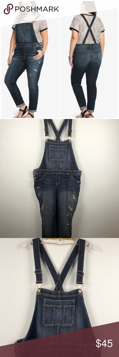 ef4abc62ddb Torrid medium wash jean overalls Torrid medium wash jean overalls. Side hip  buttons. Adjustable