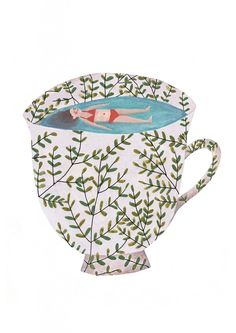 Tiny in a teacup / Fotini Tikkou / Illustration / Fun / Cute / Ideas / Inspiration / Swimming Suit / Swimming Pool / Cup / Greenery / Modern Art And Illustration, Illustrations Posters, Pattern Illustrations, Flower Illustrations, Arte Fashion, Oeuvre D'art, Art Inspo, Painting & Drawing, Illustrators