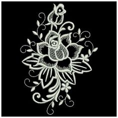 White Work Roses Set, 12 Designs - 3 Sizes! | Floral - Flowers | Machine Embroidery Designs | SWAKembroidery.com