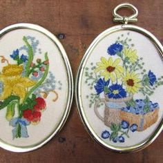 Crewel Embroidery Flowers Framed Vintage Your Choice of ONE | Etsy Crewel Embroidery, Orange Butterfly, Yellow Daisies, Oval Pendant, Flower Frame, Embroidered Flowers, Pansies, Different Styles, Purple