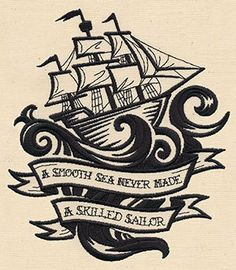 """Throw Pillow cover 16"""" - Pirate ship """"a smooth sea never made a skilled sailor""""- Embroidered - more colors available"""