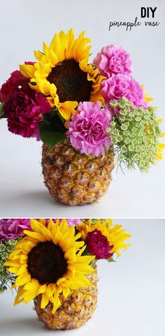 Get a little tropical with a pineapple vase centrepiece! its a cool way to save the outer layer of the pineapple.